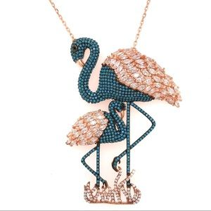 Jewelry - Flamingo silver blue and silver necklace 925.